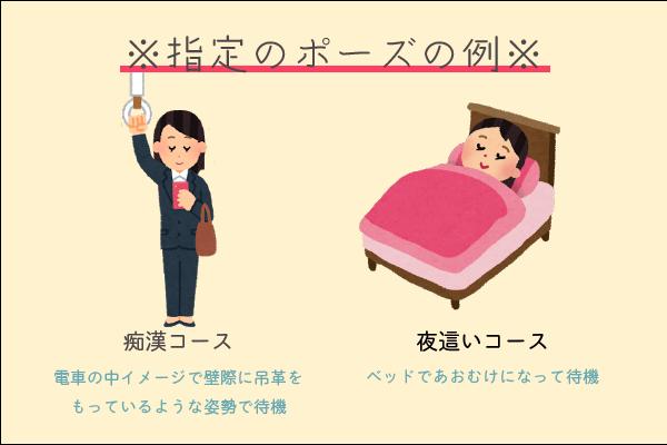 指定されるポーズの例